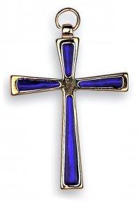 Copertina di 'Croce in metallo dorato con smalto blu elettrico - 7 cm'