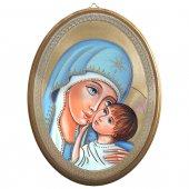 """Icona ovale """"Madonna col Bambino"""" - dimensioni 21,5x16 cm"""