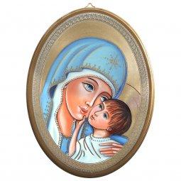 """Copertina di 'Icona ovale """"Madonna col Bambino"""" - dimensioni 21,5x16 cm'"""
