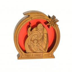 """Copertina di 'Piccola natività in legno """"Oggi è nato Gesù""""'"""