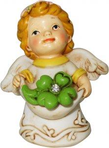 Copertina di 'Angelo in resina con fiore verde da 6 cm'