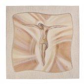 """Quadro in resina effetto tela """"Gesù crocifisso"""" - dimensioni 49x49 cm"""