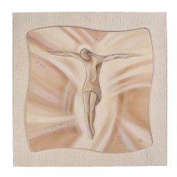 """Copertina di 'Quadro in resina effetto tela """"Gesù crocifisso"""" - dimensioni 49x49 cm'"""