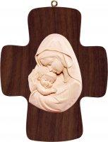 Croce con Madonna rosso-azzurro - Demetz - Deur - Statua in legno dipinta a mano. Altezza pari a 16 cm.