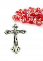 Immagine di 'Rosario cristallo sfaccettato con grani mm 6 colore rosso legatura in metallo'