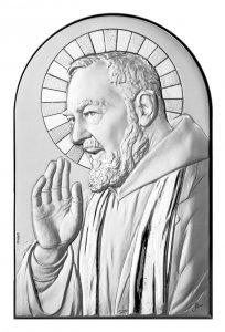 Copertina di 'Quadro Padre Pio a forma di arco con lastra in argento - Bassorilievo - 12 x 8 cm'