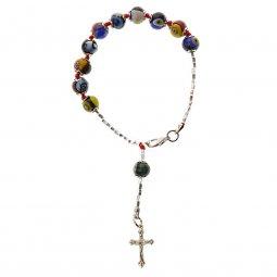 Copertina di 'Bracciale rosario con grani colorati in vetro di Murano - grani tondi 7mm'