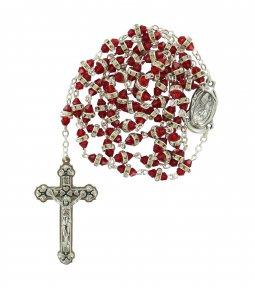 Copertina di 'Rosario semicristallo rosso con strass bianchi'