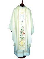 Casula mariana avorio con rose e monogramma mariano ricamati su stolone in lana