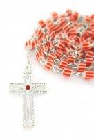 Immagine di 'Rosario vetro rigato mm. 5 rosso'