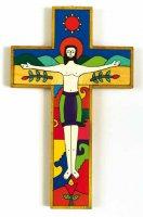 """Croce in legno """"Gesù vincitore, risorto"""" - altezza 15 cm"""