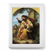 """Quadro """"Gesù con i bambini"""" con lamina oro e cornice con decorazione a sbalzo"""