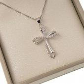 Collana con croce traforata in strass e catenina in argento 925