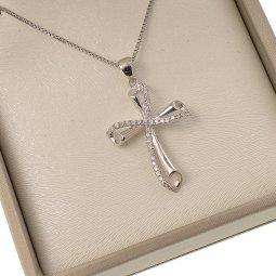 Copertina di 'Collana con croce traforata in strass e catenina in argento 925'