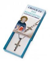 Croce di San Benedetto in acciaio inox con catenina - altezza 3 cm