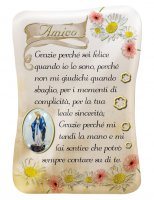 Calamita Amico con immagine resinata della Madonna Miracolosa - 8 x 5,5 cm