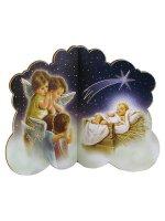 Icona in legno a forma di nuvoletta con angeli in adorazione di Gesù Bambino - dimensioni 9x11 cm