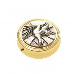 Copertina di 'Teca eucaristica porta ostie dorata con colomba su placca argentata - diametro 5,2 cm'