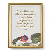 """Quadro con citazione """"La tua libertà"""" su cornice dorata - dimensioni 44x34 cm - S. Agostino"""