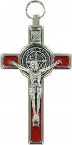Copertina di 'Croce San Benedetto in metallo nichelato con smalto rosso - 8 cm'
