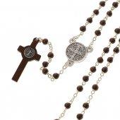 Immagine di 'Collana rosario in legno nero con croce di San Benedetto - grani tondi 3 mm'