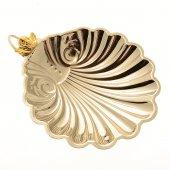 Conchiglia per battesimo in ottone nichelato con angioletto dorato - dimensioni 11x9 cm