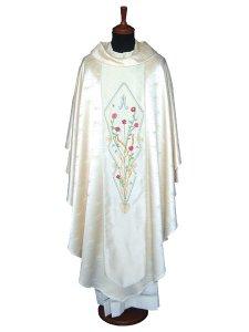 Copertina di 'Casula mariana in pura seta con rose ricamate a mano'