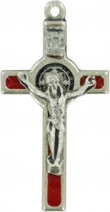 Copertina di 'Croce San Benedetto in metallo nichelato con smalto rosso - 3,5 cm'