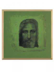 """Copertina di 'Quadro in legno e tela """"Volto della Sindone"""" -  dimensioni 25x25 cm'"""