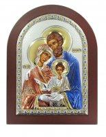 Icona Sacra Famiglia a forma di arco con lastra in argento - 15 x 20 cm
