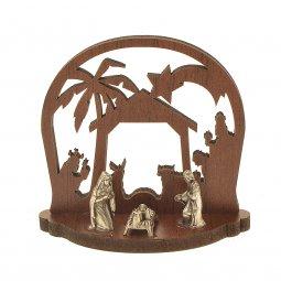 Copertina di 'Presepe in legno con Sacra Famiglia in metallo - altezza 6 cm'