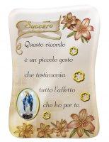 Calamita Suocero con immagine resinata della Madonna Miracolosa - 8 x 5,5 cm
