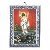 """Icona con cornice azzurra """"Risurrezione di Gesù"""" - altezza 14 cm"""