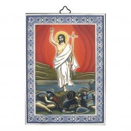 """Copertina di 'Icona con cornice azzurra """"Risurrezione di Gesù"""" - dimensioni 14x10 cm'"""