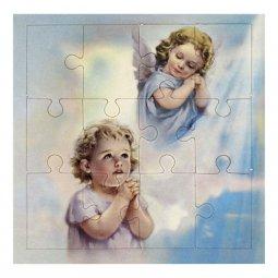 """Copertina di 'Mini puzzle """"Angelo in preghiera"""" per bambini - 12 pezzi'"""