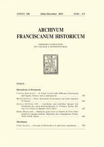 Archivum Franciscanum Historicum n. 2013/3-4