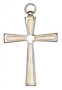 Copertina di 'Croce in metallo dorato con smalto bianco - 7 cm'
