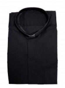 Copertina di 'Camicia clergyman nera manica lunga 100% cotone - collo 45'