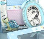 Immagine di 'Set regalo nascita/battesimo: sopraculla e cornice in argento 925 soggetto tartaruga'