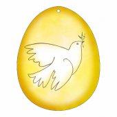 Uovo giallo in PVC da appendere con augurio pasquale - altezza 10 cm