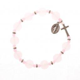 Copertina di 'Bracciale decina elasticizzato in vetro rosa - grani tondi 1 cm'