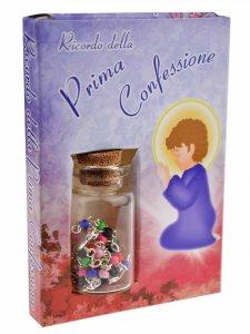 """Copertina di 'Scatolina con boccettina e rosario """"Ricordo della Confessione""""'"""