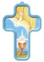 """Croce in legno """"Calice e colomba"""" - dimensioni 13x9 cm"""