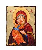 """Icona in legno massello e foglia d'oro """"Madonna col Bambino"""" -  dimensioni 27x21 cm"""