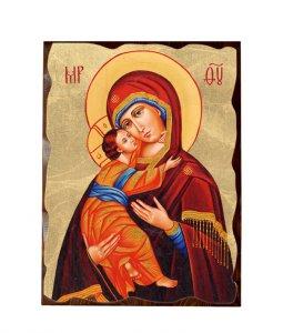 """Copertina di 'Icona in legno massello e foglia d'oro """"Madonna col Bambino"""" -  dimensioni 27x21 cm'"""
