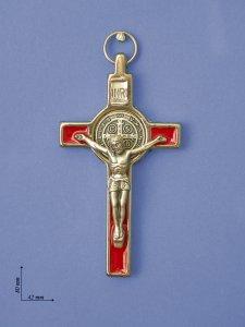 """Copertina di 'Croce in metallo di """"San Benedetto"""" su sfondo rosso - altezza 8 cm'"""