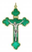 Croce in metallo dorato con smalto verde e Cristo riportato - 8 cm