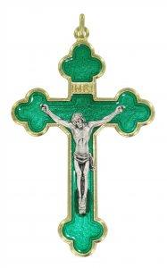 Copertina di 'Croce in metallo dorato con smalto verde e Cristo riportato - 8 cm'
