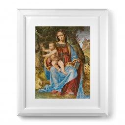 """Copertina di 'Quadro """"Madonna col Bambino"""" di B. Luini con passe-partout e cornice decorata a sbalzo'"""