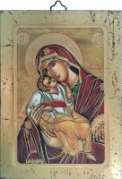 """Icona bizantina """"Madonna con il Bambino"""" - dimensioni 14x10 cm"""